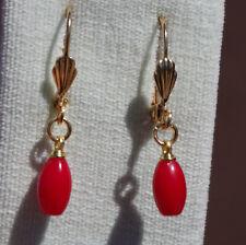 GORGEOUS 14K GOLD FILLED BLOOD CORAL ELONGATED  EARRINGS