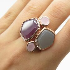 925 Sterling Silver Gold Plated Real Chalcedony Gemstone Ring Size 7 1/4