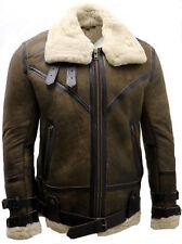Hombre Marrón Antiguo B3 piel de oveja Aviador Vuelo Chaqueta de cuero