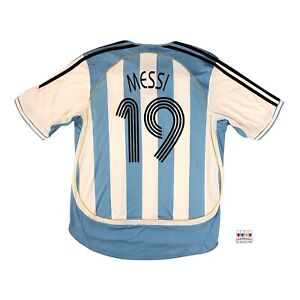 Argentina 2005/07 International Home Soccer Jersey Large Lionel Messi Adidas