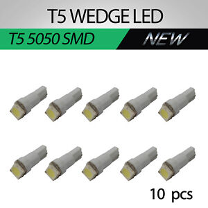 T5 LED 207 SMD Speedo Dashboard Dash Wedge Light Globe Bright White Replace12PCS