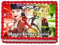 MIRACULOUS LADYBUG AND CAT NOIR IMAGE EDIBLE CAKE TOPPER BIRTHDAY DECORATIONS