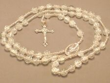 Rosary Necklace CRACKLED BEAD Detailed Silver Center & Crucifix CLEAR Low Stock!