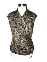 NEW MICHAEL KORS Size XL Shirt Top Brown Leopard Animal Print Ruching Cap Sleeve