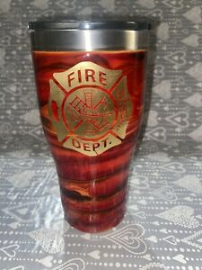U.S. Fire Department Stainless Steel Red Fire Travel Mug 32oz Hot Or Cold