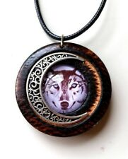 Wolf and Moon Pendant in Burnt Oak, rustic blue eyes wolf jewelry,reclaimed wood