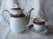 Vtg Steelite Individual Teapot Demitasse cup/saucer White China Burgundy Gold EC