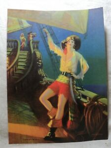 """vintage EGGLESTON Pin-Up PRINT """"Queen of the Deck"""" Pirate Girl on Ship"""