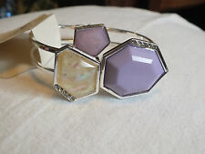 Collectible Clampe Bracelet Silver Tone Lavender Cabachons Rhinestones WOW
