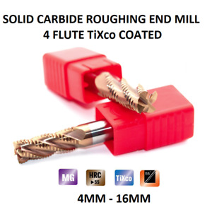 Roughing Rougher End mill Solid Carbide 4 Flute TiXCO Coated 4 6 8 10 12 16 mm