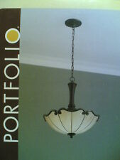 "NIB Classy Large 18"" 3-Bulbs Inverted PENDANT LIGHT w/ Tiffany-Style Glass"
