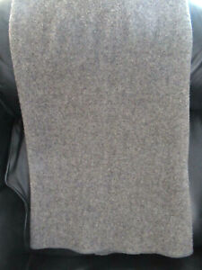 """Gray Wool Flannel Military Style Blanket 54"""" x 82"""" Nice Condition"""