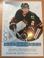 2017-2018 SP AUTHENTIC DUNCAN KEITH ROOKIE YEAR MILESTONES HOCKEY CARD  RYM-DC