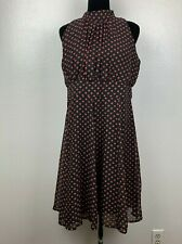 ILE New York Navy Blue Red Polka Lined Sleeveless Tie Neck Dress Size 14
