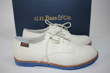 NIB BASS & CO Size 6.5 Women's Natural Canvas Textile ELLY Blue SOFT Sole Oxford