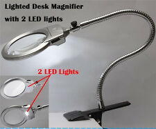 New Lighted Table Top Desk Magnifier Magnifying Glass with Clamp