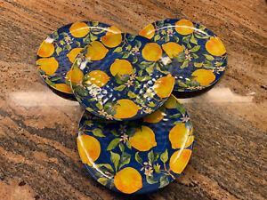 "Pier 1 ~ 4 Blue Medallion Lemons ~ Melamine 9"" salad luncheon plates NEW"
