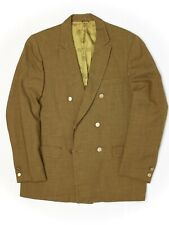 VTG 1960s Mens Double Breasted Sport Coat 38R Gold Wool Brass Buttons Jacket