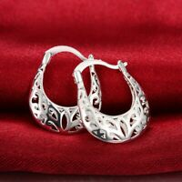 Vintage Small Oval Hoop Sterling Silver Filigree Earrings 3/4""