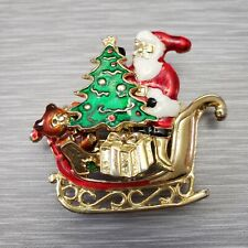 Vintage Christmas Brooch Pin Santa Sleigh Bear Presents Gold-tone Multi-piece