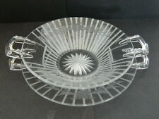 Antique Etched Heisey Double Handled Dish  with Underplate   L@@K