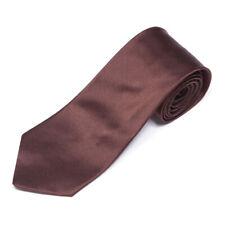 STEFANO RICCI Vintage Shiny Rich Brown Striped Neck Men's Silk Skinny Neck Tie