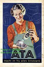 Putzmittel Ata Reklame 1935 Scheuermittel Österreich Hausfrau Schürze Werbung