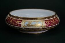 Royal Vienna Hand Painted Porcelain Bowl Gold Gilt Rich Red Light Blue Accents