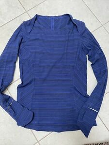 Lululemon Catch Me If You Can Long sleeve, Running, Size 8, Blue Black Stripe!