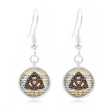 Triquetra Art Tibet Silver Dome Photo 16MM Glass Cabochon Long Earrings #514