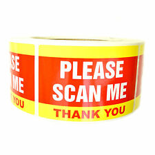 """Yellow and Red """"Please Scan Me Thank You"""" Stickers - 3"""" by 2"""" - 500 ct - SL082F"""