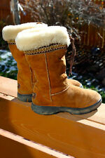 UGG Boots Womens US 6 EU 37 Tall Suede Leather Sherpa Ultimate Cuff 5273 Winter