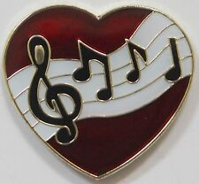 Music Bar On Red Heart Lapel Hat Pin Melody Tie Tack Musical Love Treble Clef