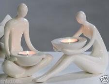 ☼ 2er Set Casablanca Teelichtleuchter Mann & Frau Keramik Kerzenleuchter 36026