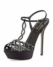 SERGIO ROSSI SCALLOPED CRYSTAL T-STRAP PLATFORM HEELS EU 38 UK 5 US 8