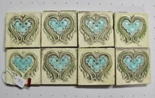 Antique England - 8 Majolica Tiles C1900 green light blue square flower (#713)