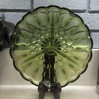 Vintage Anchor Hocking Fairfield 3 Part Relish Dish Green Glass