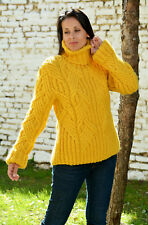 Designer Hand Knitted Wool Sweater no Mohair Yellow Pullover by EXTRAVAGANTZA