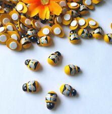Bienen aus Holz, 1 Packung mit 10 Stück, mit Klebepunkt zum Fixieren