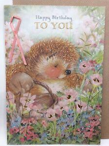 Beautiful  Large Hallmark Country Companions Edwina Hedgehog Birthday Card