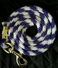 Horse Nylon Lead Rope 80 inches purple white candy cane.
