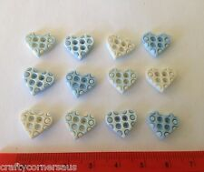 Heart Shaped Tiny Blue Baby 4 Hole button by Dress It Up 5421