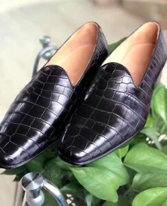Men Handmade Leather Loafer Formal Crocodile Texture Leather Men Tan Brown Shoes