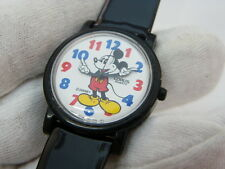 "MICKEY MOUSE,""RARE! Lorus Molded Hands DIAL""Black Leather Band,MENS WATCH,1235"