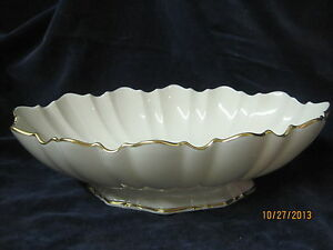 Vintage Lenox USA large Oval scalloped footed Bowl 24k gold trim