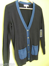 NWT Juicy Couture Midnight Blue Black Sexy Colorblock Cardigan Sweater S $138