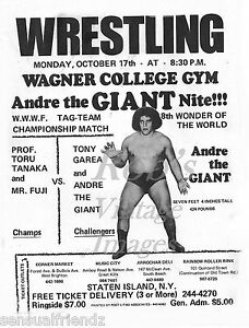 Professional Wrestling Poster Andre The Giant Vintage Staten Island 13x19