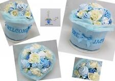 PERSONALISED NEW BABY CLOTHES BOUQUET/NAPPY CAKE GIFT + ANGEL CHARM 0-3m