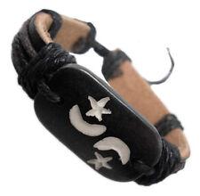 D1142 fashion moon star adjustable leather bracelet hemp chain jewelry