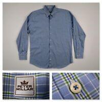 Peter Millar Men's Large Blue Plaid Checks Long Sleeve Button Sport Casual Shirt